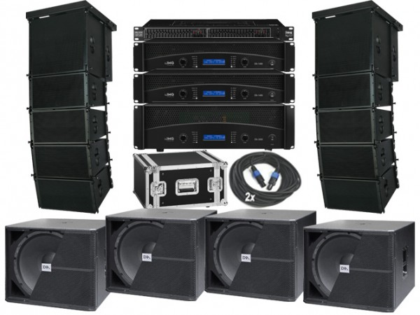 9700W Line Array Komplettanlage 20cm Line Array + 4x 46cm Subs Mieten Leihen-Copy