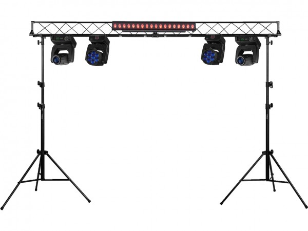 Beleuchtungstruss mit 4x Moving Head Zoom/Beam + 180W RGB+UV Panel